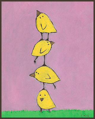 Painting by Lizzie of yellow chicks standing on top of each other.