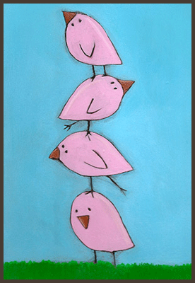 Painting by Lizzie of pink chicks standingon top of each other.