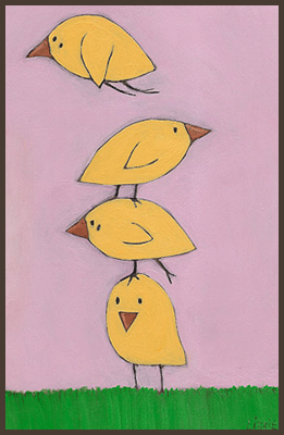 Painting by Lizzie of yellow chicks standing on top of each other and one is flying away.