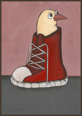 Painting by Lizzie of a chick sitting in a boot.