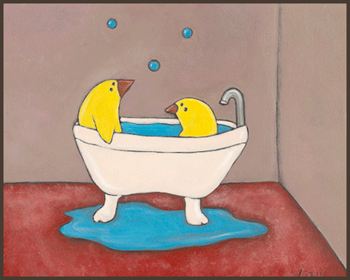 Painting by Lizzie of chicks sitting in a bath.