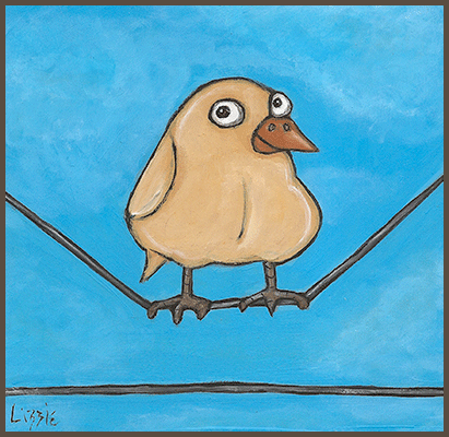 Painting by Lizzie of a chick sitting on a wire.