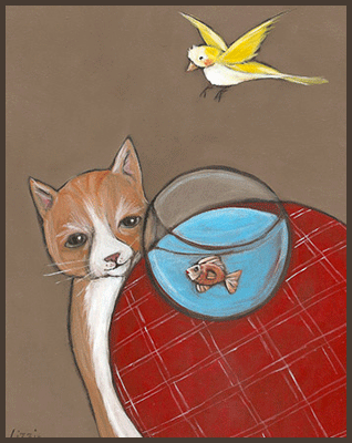 Painting by Lizzie of a cat looking a goldfish. Small yellow bird flying above.