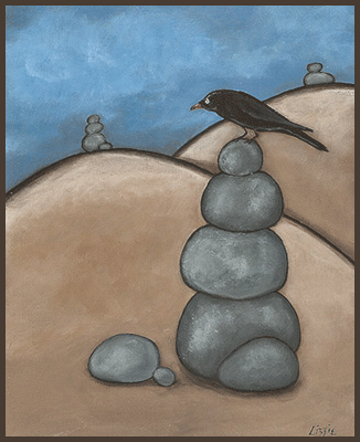 Painting by Lizzie of a crow sitting on a pile of rocks.