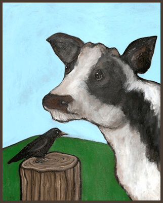 Painting by Lizzie of a cow and a crow.