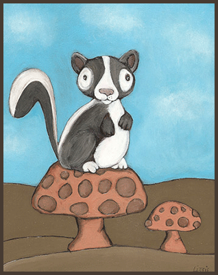 Painting by Lizzie of a skunk on top of a mushroom.