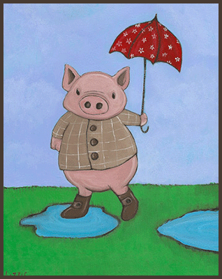 Painting by Lizzie of a pig outside in a puddle holding an umbrella.