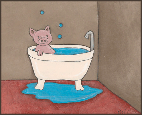 Painting by Lizzie of a pig taking a bath.