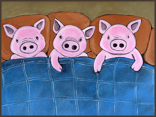 Painting by Lizzie of 3 pigs wrapped in a blanket.