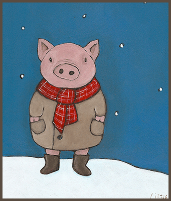 Painting by Lizzie of a well dressed pig and his red scarf.