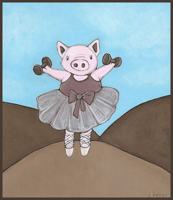 Painting by Lizzie of a pig wearing a tutu.
