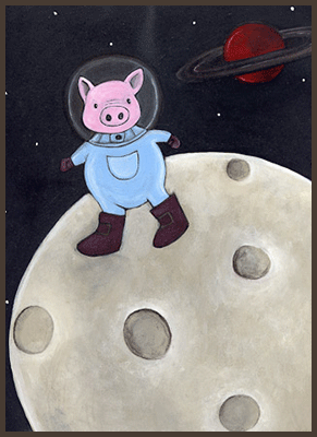 Painting by Lizzie of a pig astronaut.