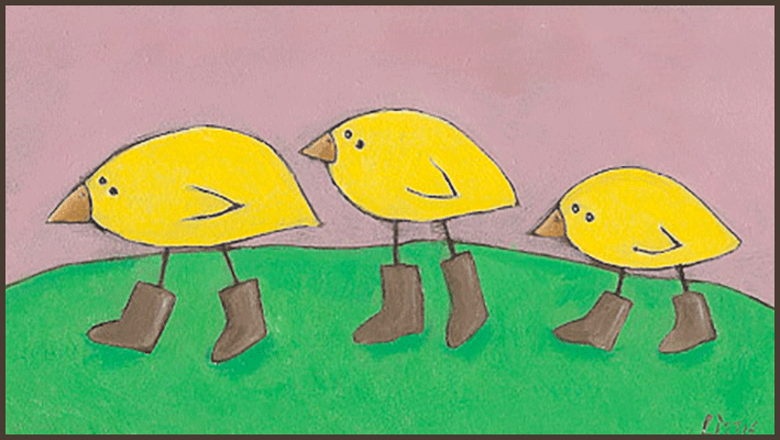 Painting by Lizzie 3 yellow chicks walking in a row and wearing boots