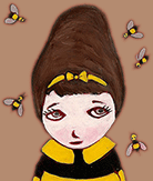 Painted girl with a bee shirt and with bees flying