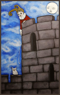 Painting by Lizzie of a girl trapped at the top of a castle.