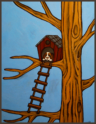 Painting by Lizzie of a dog sitting inside a tree fort.