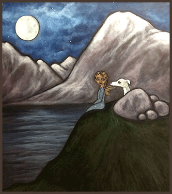 Acrylic Painting by Lizzie of an fairy sitting on cliff overlooking the sea with her white dog.
