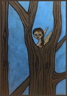 Painting by Lizzie of a fairy in a tree.