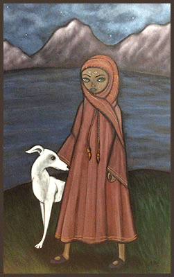 Acrylic Painting by Lizzie of an girl with her white dog.