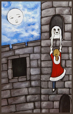Acrylic Painting by Lizzie of a girl rescuing a dog from a castle