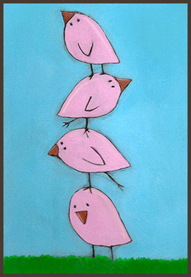 Acrylic Painting by Lizzie of 4 pink chicks standing on top of each other