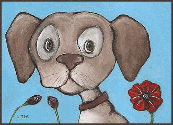 Acrylic Painting by Lizzie of a puppy and a poppy flower
