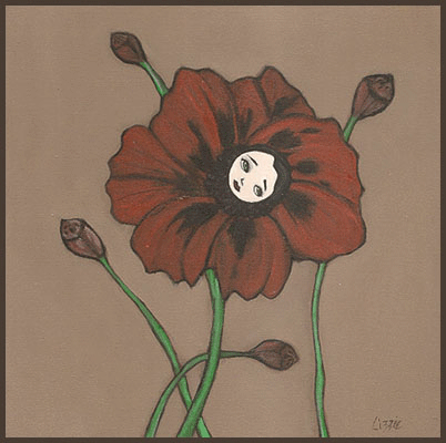 Acrylic Painting by Lizzie of a red poppy flower with a girls face in the center