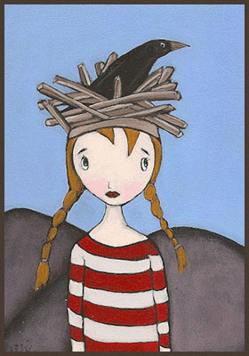 Acrylic Painting by Lizzie of a girl with a bird and nest on her head
