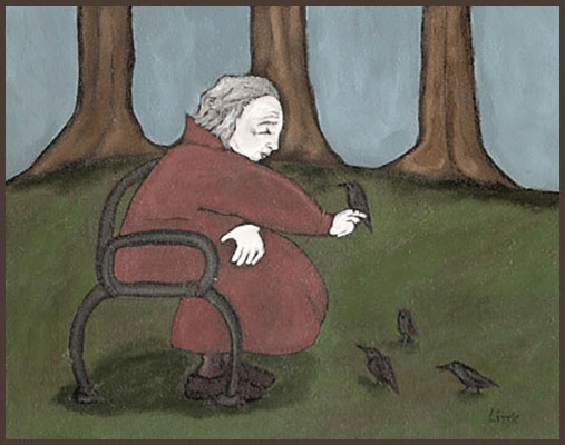 Acrylic Painting by Lizzie of an old lady sitting on a park bench taking care of birds