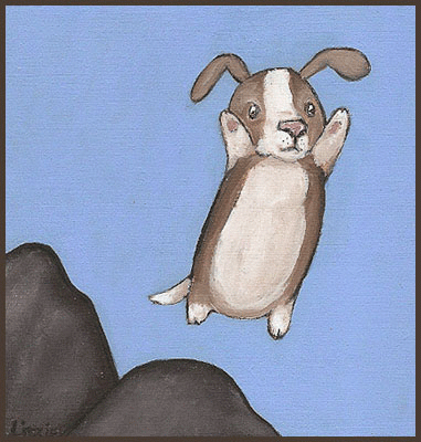 Acrylic Painting by Lizzie of a flying dog