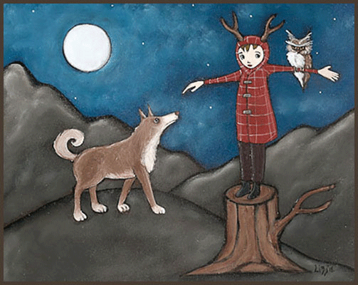 Acrylic Painting by Lizzie of a girl standing on a tree stump holding an owl and her dog watching