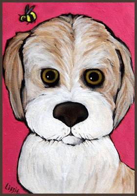 Acrylic Painting by Lizzie of a sweet dog and a bee