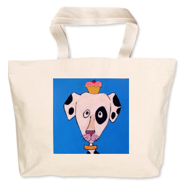 Painting by Lizzie on a canvas bag