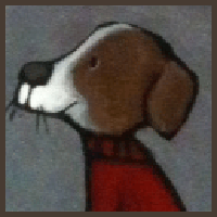 Painting by Lizzie magnet of a dog in red sweater.