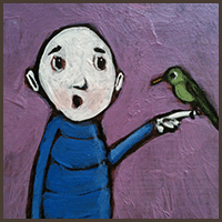 Painting by Lizzie magnet of a man holding a bird on his finger.
