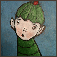 Painting by Lizzie magnet of an elf boy with his green hat.
