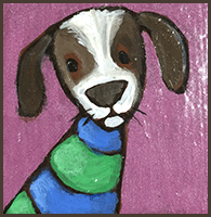Painting by Lizzie magnet of a dog dressed in Seahawks color.