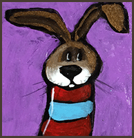 Painting by Lizzie magnet of a bunny in a red and blue sweater.
