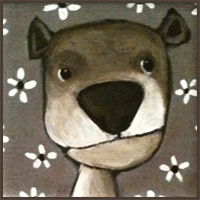 Painting by Lizzie magnet of a dog with a big nose.