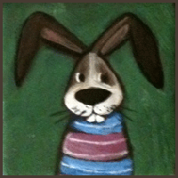 Painting by Lizzie magnet bunny dressed in a red and blue sweater.