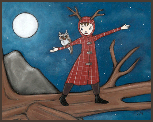 Painting by Lizzie of a tree nymph standing on a tree branch. An owl is resting on her arm.