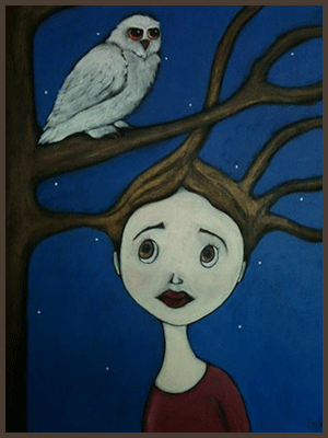 Painting by Lizzie of a tree nymph entwined with the branches of tree with an owl resting above.