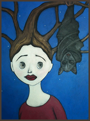 Painting by Lizzie of a tree nymph entwined with the branches of tree with a bat hanging from the branch.