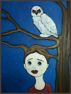 Painting by Lizzie of a tree nymph entwined with the branches of tree. An owl is resting above.