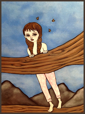 Painting by Lizzie of a tree nymph hiding standing a tree log with bees flying near by.