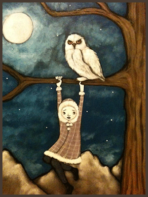 Painting by Lizzie of a tree nymph hanging from a tree branch. An owl is sitting on the branch.