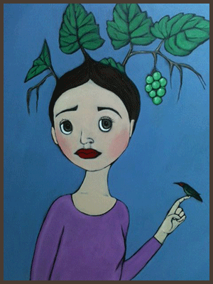 Painting by Lizzie of a tree nymph with grape leaves growing from her hair. Hummingbird sitting on her finger.