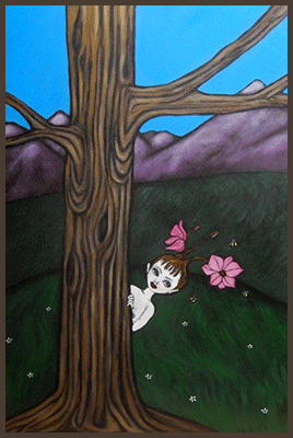 Painting by Lizzie of a tree nymph hiding behind a tree a a meadow of flowers.