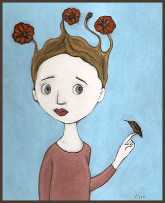 Painting by Lizzie of a girl with flowers growing from her hair. A hummingbird resting on her finger.