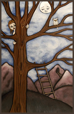 Painting by Lizzie of a tree escaping.